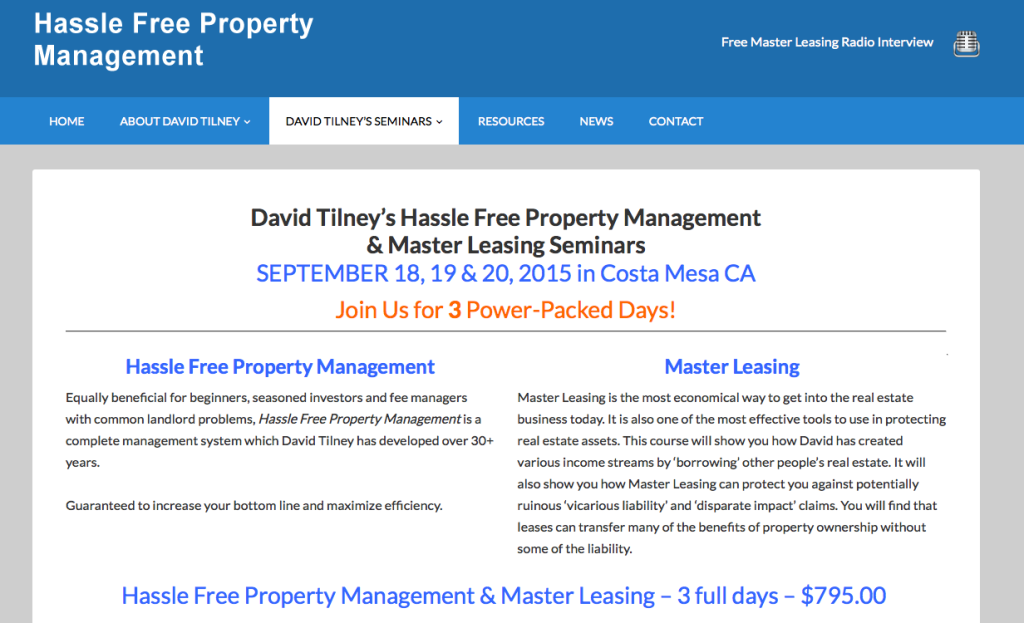 David Tilney Property Management seminar review